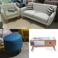 Sofa Minimalis Retro Kancing 21 Seater + Stool Bulat + Meja Retro - Biru