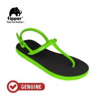 Fipper Strappy / Sandal Jepit Tali Wanita / Black - Green Apple