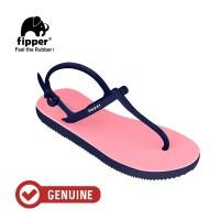 Fipper Strappy / Sandal Jepit Tali Wanita / Pink Soft - Navy