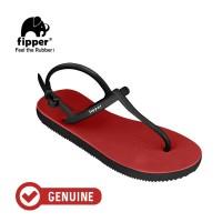 Fipper Strappy / Sandal Jepit Tali Wanita / Red - Black