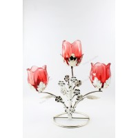TULIP CANDLE Tempat Lilin Dekor 3 Lilin-Candle Holder Red Rose Silver