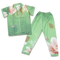 Yoana| Set Baju Tidur Piyama Wanita - Hijau Bunga