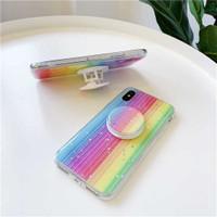 Case Samsung A30s A50 A50s A51 Starry Rainbow Glitter Pop Socket