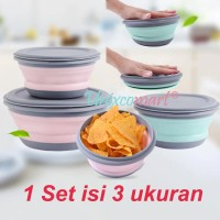 Mangkok Makan Silicone Portable 3 in 1 Set Folding Bowl Lipat Silikon
