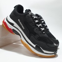 Sepatu Sneakers Balenciaga Triple S Black White Red