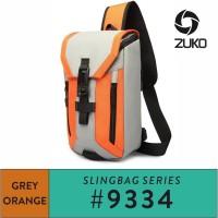 Ozuko Sling Bag #9334 Orange - Grey