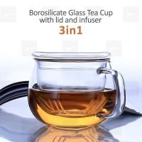 Glass Tea Cup with Infuser and lid Gelas teh dengan tutup dan infuser