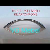 Handle sabit TH 211 - 64 KILAP/CHROME merk HUBEN/Tarikan laci lemari