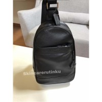 Coach Charles Pack Sling Bag Smooth Full Leather Black - ORIGINAL 100%