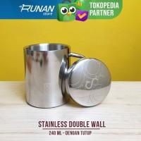 Gelas Stainless Double Wall Dengan Tutup 240ml Conalli Cangkir Kopi