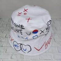 Topi Bucket Pria & Wanita Motif Graffiti Gaya Korea