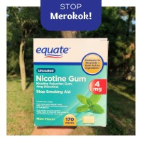Nicotine Gum 4 mg Equate 10 PCS Permen Nikotin |Mint Flavor| Uncoated