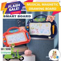 Mainan Anak Musical Magnetic Drawing Board / Papan Tulis Magnet - Merah