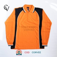Kaos Kerah (Panjang Orange) Kaos Polo/Polo Shirt/Kaos olahraga senam - Orange, M