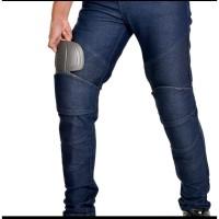 celana biker jeans protector hitam dan biru 28 - 40 - Hitam, 28