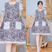 home dress sritex hitam putih daster busui midi