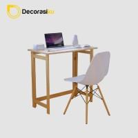 Meja belajar kayu Portable SIMPLY - meja leptop - meja kantor - jati