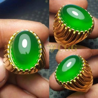 Natural Green Chalcedony. Fresh Green. Kwalitas Super - Silver, 8