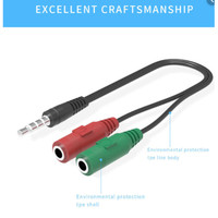 Splitter Audio Mic Kabel AUX Jack 3.5mm 1 Male to 2 Female [Red Green]