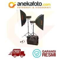 Lampu Studio Jinbei 2 set ECV 300 X A2 Softbox (80x120) Light Stand