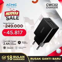 ACMIC CWC02 - Dual USB Wall Charger Adaptor Fast Charge 2.4A