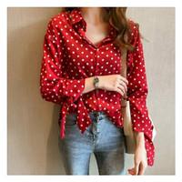 Kemeja polkadot Merah [Baju Atasan Wanita 0140] SEB
