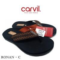 Sendal Pria Carvil Original Anti Air - Sandal Carvil Pria Ronan Brown