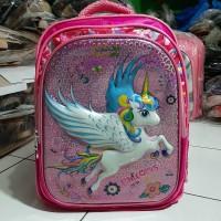 Tas Ransel Sekolah fourtune Anak Perempuan 3D LED/Bunyi unicorn