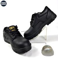 Sepatu Safety Pria Ujung Besi Caterpillar Tracking -Hitam, 39 grosir - Hitam, 39