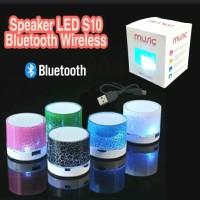 Speaker Bluetooth Model Kaca Retak Portable Speker LED S10 Lampu disco
