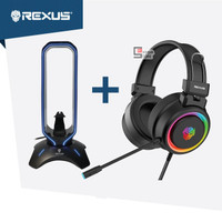 Rexus Headset Gaming Vonix F30 with Headset Stand Bungee J3 RGB FREE S