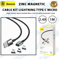 BASEUS KABEL ZINC MAGNETIC CABLE CHARGER 3IN1 IPHONE / TYPE C / MICRO