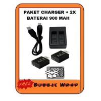 Action cam Dual charger + 2 baterai batrai Brica Bpro 5 Sbox Kogan 4k