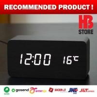 Jam Weker Meja Motif Kayu LED Putih Digital Wood Clock - Seiko Killer