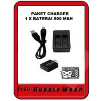 Action cam Dual charger +1 baterai camera u/ b-pro Sbox Kogan AE 2 4k