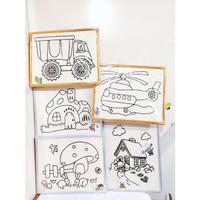Mainan Anak DIY PAINTING Glitter Art & Craft DIY Glitter Kayu UNIK