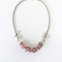 Rawberry Kiss Necklace // Kalung Batu Raw Strawberry Quartz Statement