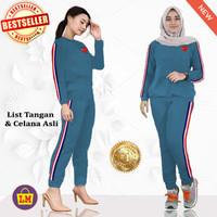 LMS 60016 Baju Setelan Olahraga Training Senam Wanita Play XXL - Biru ITB, XXL