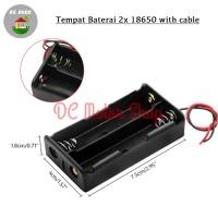 Battery 2*18650 Holder Seri 2 Slot Batere Baterai Case/Box/Kotak Duduk