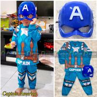 Baju Setelan Anak Laki Laki Kostum + Topeng Super Hero Captain America