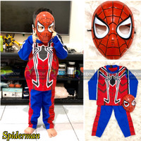Baju Setelan Anak Laki Laki Kostum + Topeng Super Hero Spiderman