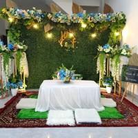 sewa paket backdrop akad nikah wall flower 3.5mtr + meja akad lesehan