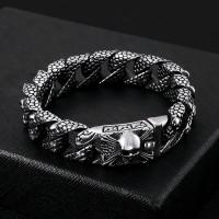 Gelang Titanium Pria Stainless Steel 16mm Skull Head Chain Bracelet