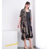 Long Cardigan Outer kimono Batik - lathi sogan mocca