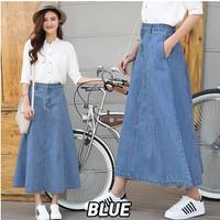 Denim Skirt / Rok Denim / Rok Jeans Bukan Levis Panjang 7/8 Berkantong