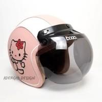 Helm Bogo Dewasa SNI - Full Kulit Motif Hello Kitty Pink Putih - JP Smoke