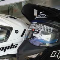 helm mds super pro trail tril cross hitam putih double visor
