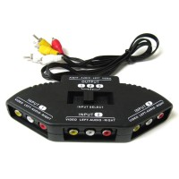 SkiDa TV Switch Box RCA 3 Input 1 Output with Composite AV RCA Cable