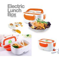 Kotak makan elektrik penghangat makanan - Electric Lunch Box + Sendok - Orange