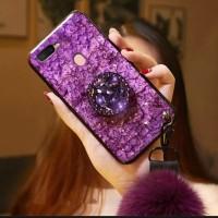 case glitter oppo a7 softcase bling marmer foil emas